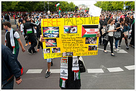 Supporters of the Boycott, Divestment and Sanctions movement in Berlin, Germany  (Wikipedia photo)