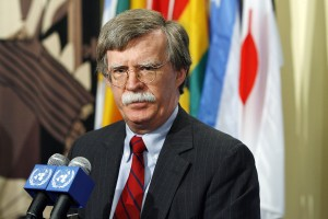 John R. Bolton, Permanent Representative of the United States to the United Nations, speaks to news correspondents outside the Security Council chamber after the Council's meeting on Myanmar, at UN HQ in New York (UN photo by Eskinder Debebe 2008).