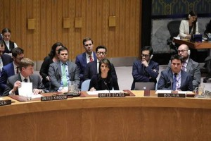 Nikki Halley US UN ambassador speaks at the UN Security Council on March 14 - 2018 on Russian apparent chemical attack on two people in UK (UN photo - US Mission)