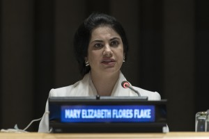 Mary Elizabeth Flores Flake, Permanent Representative of Honduras to the UN, addresses the informal interactive dialogue with candidates for the position of President of the General Assembly for the seventy-third session. 04 May 2018 (UN photo by Mark Garten)