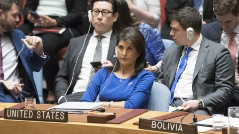 Strong supporter for US sanctions on Russia - ambassador Nikki Haley at the UN Security Council meeting 2018 (UN photo for education only)