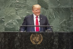 US President Donald J. Trump addressing UN General Assembly on 25 September 2018 in New York (UN photo by Cia Pak)