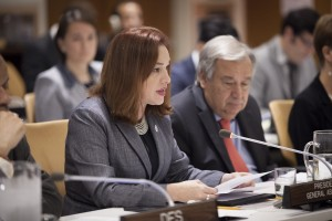 María Fernanda Espinosa Garcés (left), President of the seventy-third session of the General Assembly, addresses the Ministerial meeting of the Association of Southeast Asian Nations (ASEAN). At right is Secretary-General António Guterres. 28 September 2018 United Nations, New York (UN photo by Ariana Lindquist)