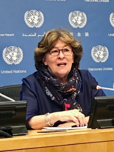 Louise-Arbou, Special-Representative of the United Nations Secretary-General-forInternational-Migration briefs UN reporters in New York (Photo by Erol Avdovic Webpublica 2018)
