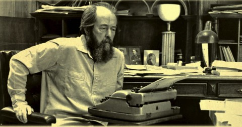 Alexander Solzhenitsyn in his office (History public domain photo for education only)