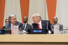 Secretary-General António Guterres (front left) and United States President Donald Trump (front right) during the high-level meeting on reform of the United Nations convened by the United States. 18 September 2017 (UN Photo by Mark Garten)