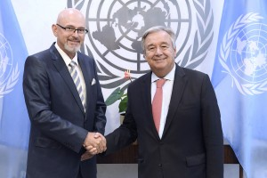 Ambassador of Bosnia and Herzegovina to United Nations  presents credentials to UN Secretary General on August 3 - 2018 (UN Photo Evan Schneider)