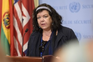 Karen Pierce, Permanent Representative of the United Kingdom and President of the Security Council for the month of August, briefs journalists following consultations on the situation in South Sudan. 10 August 2018 United Nations, New York (UN Photo by Loey Felipe)