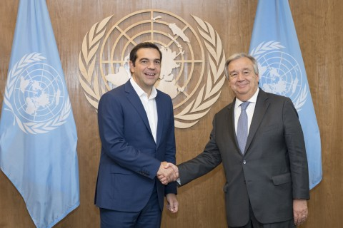 Secretary-General António Guterres (right) meets with Alexis Tsipras, Prime Minister of the Hellenic Republic. 27 September 2018 United Nations, New York (UN photo by Rick Bajornas)