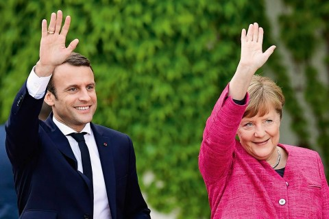 Angela Merkel and Emmanuel Macron 2017 (Courtesy photo for education only)