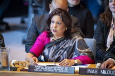 Pramila Patten, Special Representative of the Secretary-General on Sexual Violence in Conflict, addresses the Security Council meeting on women and peace and security, with a focus on sexual violence in conflict. 23 April 2019 (UN photo by Loey Felipe)