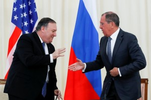 U.S. Secretary of State Mike Pompeo and Russian Foreign Minister Sergey Lavrov shake hands after their joint news conference following the talks iin Sochi (Courtesy photo for education only)