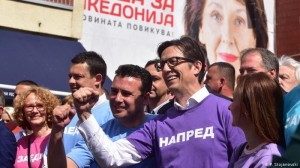 Stevo Pendarovski (right) wit Prime Minister Zoran Zaev (center) of Northern Macedonia (DW photo)
