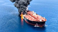 Attacked tanker in the Gulf of Oman - June 2019 (Courtesy photo for education only)