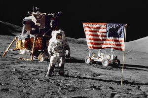 Moon landing by Americans  on 20 July 1969 (Historic public domain photo - for education only)