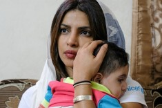 UNICEF Goodwill Ambassador Priyanka Chopra holds 5 year old Suleiman during a visit to his home in Amman, Jordan on 10 September 2017. Credit:UNICEF/UN/Rich