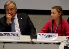 Activist Greta Thunberg and UN Secretary General Antonio Guterres (Courtesy photo for education only)