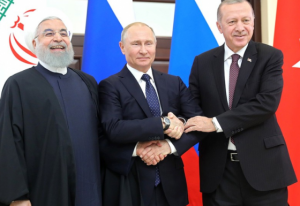 Presidents Rouhani of Iran, Putin of Russia and Erdogan of Turkey at summit in Sochi (Photo Office-of-the-President-of-Russia) 17 September, 2019