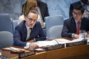 Heiko Maas, Federal Minister for Foreign Affairs of the Federal Republic of Germany and President of the Security Council for the month of April, chairs the Security Council meeting on women and peace and security, with a focus on sexual violence in conflict. 23 April 2019 (UN photo by Loey Felipe)
