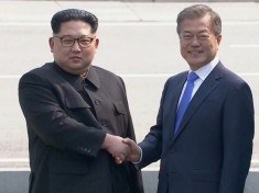 North Korean leader Kim Jong Un has crossed the line dividing the demilitarized zone to meet with South Korean President Moon Jae-in (Courtesy photo for education only)