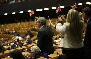 BREXIT completed on 31 January 2020 Britsh PM left EU Parliament with UK's flags (Courtesy photo for education only)