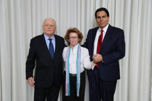 photo with (r-l) Ambassador Danon, Irene Shabbat, and Shraga Milstein (Credit: Israeli Mission to the UN)