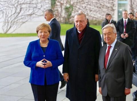 Chancellor Angela Merkel, Turkish President Recep Tayyip Erdogan and UN Secretary General Antonio Guterres Berlin 19 January 2020 (Courtesy photo for education only)
