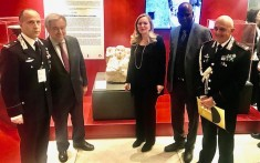 UN Secretary General Antonio Guterres at the opening of the Italian exhibit on international cultural heritage with the guests for Italy (UN Headquarters, January 7 - 2020, photo by Erol Avdovic, Webpublicapress)