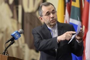 Iranian envoy to the UN Majid Takht Ravanchi briefs journalists outside the Security Council on June 24, 2019. (Loey Felipe/UN)