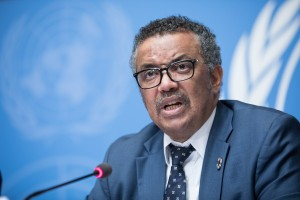 Dr Tedros Adhanom Ghebreyesus, Director-General, World Health Organisation (WHO) speaks at a press conference UN Office in Geneva, Palais des Nations. UN Photo / Elma Okic 2018.