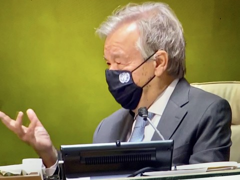 Antonio Guterres wearing anti-coved mask at the 75th UN General Assembly  opening 21 September 2020 (UN Webcast TV image by Erol Avdovic for education only)