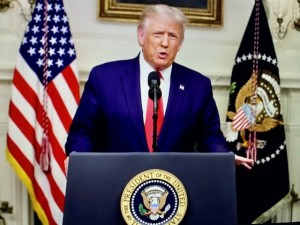US president Donald J. True addressing 75th Session of UN General Assembly on 22 September 2020 - for the first time in history virtually from the White House (Photo by Erol Avdovic - WebPublicaPress from the UN Web TV / free image for education only)