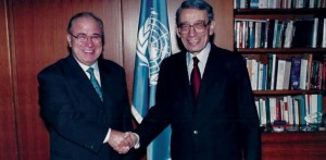 Samir Sanbar with former UN Secretary General Boutros Boutros-Ghali (Photo archive for education only).