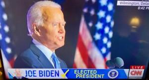 Joe Biden president elect (TV image photo by Erol Avdovic for education only)