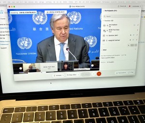 Secretary General Antonio Guterres press conference on 28 January 2021 - virtual with only 10 UN resident correspondents allowed to attend because of anti pandemic measures - laptop view (Photo Erol Avdovic - WebPublicaPress)