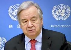 UN Secretary General Antonio Guterres 18 February 2021 UN launching climatate report (Virtual photo UN TV by E. Avdovic - WebPublicaPress)