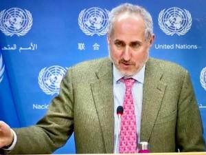 Stephane Dujarric brief correspondents (virtually) on 8 February 2021 from UN (Virtual photo image by Erol Avdovic, WebPublicaPress)
