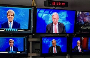 John Kerry US Special Envoy on Climate and Antonio Guterres UN Secretary General talking virtually on the occasion of United States formal rejoining Paris Climate Pact 19 February 2021 (UN photo taken virtually from UN photo library)