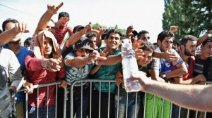 Migrants on Croatian border with EU (BBC TV image for education only)