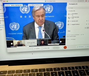 Secretary General Antonio Guterres addressing journalist in half virtual press conference from UN headquarters in New York, 28 January 2021 (Photo computer image by Erol Avdovic - WebPublicaPress)