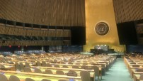 UN General Assembly, almost empty on 22 September 2020 during 75. anniversary session (Photo by Erol Avdovic through UN TV;  WebPublicaPress)