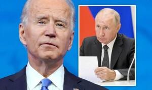President Joe Biden faces president Vladimir Putin in Geneva 16 June 2021 (Photo illustration for education only)