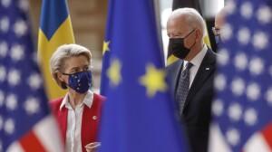 US president Joe Biden and EU Commission president Ursula  von Der Leyen in Brussels, June 2021. (courtesy photo for education only)