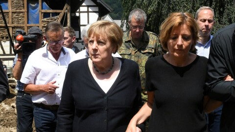 Angela Merkel tours flooded areas in Germany, July 2021 (Sky-News TV image - for education only)