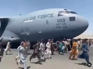 Has in Kabul airport on 16 September 2021 (TV image for education only)