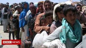 People flee Kabul, August 2021 (BBC video image - for education only)