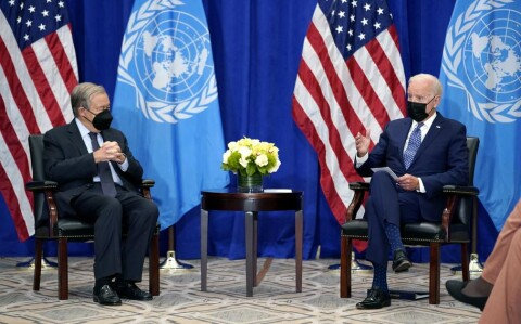 US president Joe Biden meets UN Secretary General Antonio Guterres - fully masked; COVID is around at 76th General UN Assembly in New York 21 September 2021 (Courtesy photo for education only)