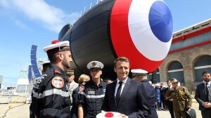 President Emmanuel Macron with French made submarine (Courtesy photo Sunday Times - for education only - all credits Sunday Times)